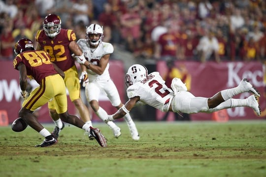 Sep 9, 2017; Los Angeles, CA, USA; Stanford Cardinal safety Brandon Simmons (2) defends the pass intended for Southern California Trojans wide receiver Deontay Burnett (80) during the third quarter at Los Angeles Memorial Coliseum. Mandatory Credit: Kelvin Kuo-USA TODAY Sports