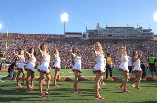 Sep 9, 2017; Los Angeles, CA, USA; Southern California Trojans song girls cheerleaders perform during a NCAA football game against the Stanford Cardinal at Los Angeles Memorial Coliseum. Mandatory Credit: Kirby Lee-USA TODAY Sports
