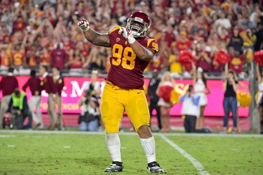 Sep 9, 2017; Los Angeles, CA, USA; Southern California Trojans defensive tackle Josh Fatu (98) reacts during a NCAA football game against the Stanford Cardinal at Los Angeles Memorial Coliseum. Southern California won 42-24. Mandatory Credit: Kirby Lee-USA TODAY Sports