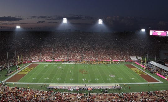 Sep 9, 2017; Los Angeles, CA, USA; General overall view of the Los Angeles Memorial Coliseum during a NCAA football game between the Southern California Trojans and the Stanford Cardinal. Mandatory Credit: Kirby Lee-USA TODAY Sports