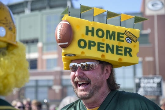 Sep 10, 2017; Green Bay, WI, USA;  Green Bay Packers fan Jeff Kahlow is ready for the home opener against the Seattle Seahawks at Lambeau Field. Mandatory Credit: Benny Sieu-USA TODAY Sports
