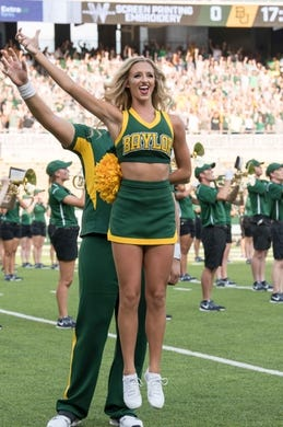 Sep 2, 2017; Waco, TX, USA; The Baylor Bears cheerleaders cheer for their team during the game against the Liberty Flames at McLane Stadium. The Flames defeat the Bears 48-45. Mandatory Credit: Jerome Miron-USA TODAY Sports