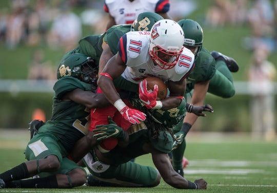 Sep 2, 2017; Waco, TX, USA; Liberty Flames wide receiver Antonio Gandy-Golden (11) in action during the game against the Baylor Bears at McLane Stadium. The Flames defeat the Bears 48-45. Mandatory Credit: Jerome Miron-USA TODAY Sports