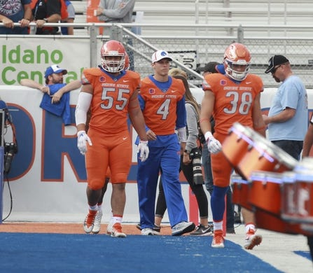Sep 14, 2017; Boise, ID, USA; Boise State Broncos quarterback Brett Rypien (4) walks on to the field in sweats prior to the game versus the New Mexcio Lobos at Albertsons Stadium. Mandatory Credit: Brian Losness-USA TODAY Sports