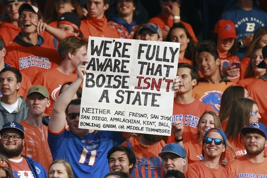 Sep 14, 2017; Boise, ID, USA; Boise State student section responds to claims made last week  by Washington State students during the first half versus the New Mexcio Lobos at Albertsons Stadium. Boise State defeats New Mexico 28-14.  Mandatory Credit: Brian Losness-USA TODAY Sports