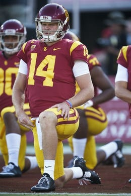 Sep 9, 2017; Los Angeles, CA, USA; Southern California Trojans quarterback Sam Darnold (14) warms up prior to the game against the Stanford Cardinal at Los Angeles Memorial Coliseum. Mandatory Credit: Kelvin Kuo-USA TODAY Sports