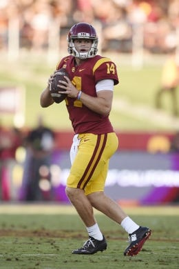 Sep 9, 2017; Los Angeles, CA, USA; Southern California Trojans quarterback Sam Darnold (14) in action against the Stanford Cardinal during the first quarter at Los Angeles Memorial Coliseum. Mandatory Credit: Kelvin Kuo-USA TODAY Sports