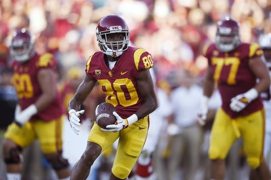 Sep 9, 2017; Los Angeles, CA, USA; Southern California Trojans wide receiver Deontay Burnett (80) in action during the first quarter against the Stanford Cardinal at Los Angeles Memorial Coliseum. Mandatory Credit: Kelvin Kuo-USA TODAY Sports