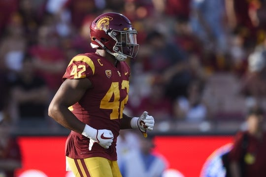 Sep 9, 2017; Los Angeles, CA, USA; Southern California Trojans linebacker Uchenna Nwosu (42) in action during the first quarter against the Stanford Cardinal at Los Angeles Memorial Coliseum. Mandatory Credit: Kelvin Kuo-USA TODAY Sports