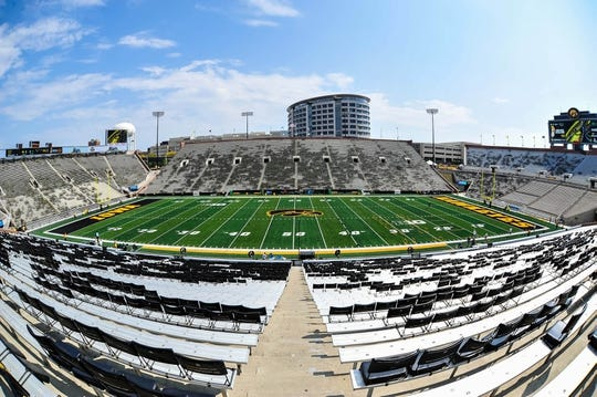 Sep 16, 2017; Iowa City, IA, USA; A general view of Kinnick Stadium before the game between the Iowa Hawkeyes and the North Texas Mean Green. Mandatory Credit: Jeffrey Becker-USA TODAY Sports