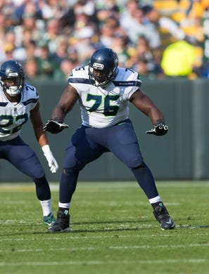 Sep 10, 2017; Green Bay, WI, USA; Seattle Seahawks offensive tackle Germain Ifedi (76) during the game against the Green Bay Packers at Lambeau Field. Mandatory Credit: Jeff Hanisch-USA TODAY Sports