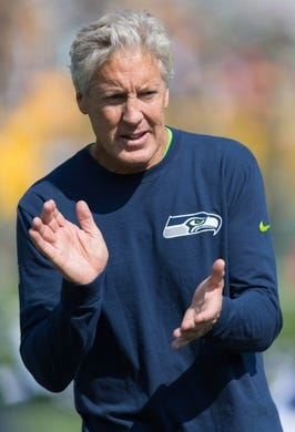 Sep 10, 2017; Green Bay, WI, USA; Seattle Seahawks head coach Pete Carroll during warmups prior to the game against the Green Bay Packers at Lambeau Field. Mandatory Credit: Jeff Hanisch-USA TODAY Sports