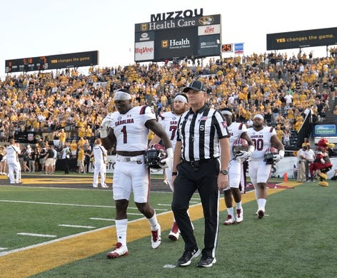 Sep 9, 2017; Columbia, MO, USA; South Carolina Gamecocks wide receiver Deebo Samuel (1) and team members walk onto the field before the game against the Missouri Tigers at Faurot Field. Mandatory Credit: Denny Medley-USA TODAY Sports