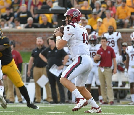 Sep 9, 2017; Columbia, MO, USA; South Carolina Gamecocks quarterback Jake Bentley (19) throws a pass during the game against the Missouri Tigers at Faurot Field. Mandatory Credit: Denny Medley-USA TODAY Sports