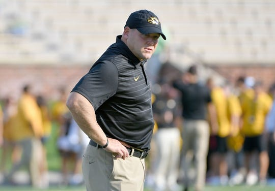 Sep 9, 2017; Columbia, MO, USA; Missouri Tigers head coach Barry Odom watches team warm up before the game against the South Carolina Gamecocks at Faurot Field. Mandatory Credit: Denny Medley-USA TODAY Sports