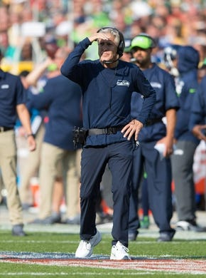 Sep 10, 2017; Green Bay, WI, USA; Seattle Seahawks head coach Pete Carroll during the game against the Green Bay Packers at Lambeau Field. Mandatory Credit: Jeff Hanisch-USA TODAY Sports