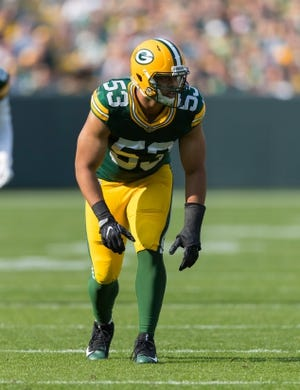 Sep 10, 2017; Green Bay, WI, USA; Green Bay Packers linebacker Nick Perry (53) during the game against the Seattle Seahawks at Lambeau Field. Mandatory Credit: Jeff Hanisch-USA TODAY Sports