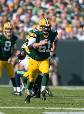 Sep 10, 2017; Green Bay, WI, USA; Green Bay Packers center Brett Goode (61) during the game against the Seattle Seahawks at Lambeau Field. Mandatory Credit: Jeff Hanisch-USA TODAY Sports