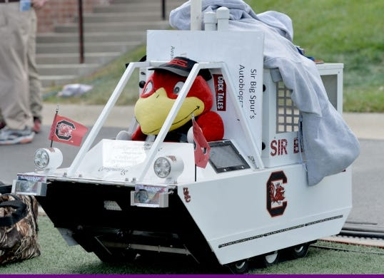 Sep 9, 2017; Columbia, MO, USA; The South Carolina Gamecocks mascot Sir Big Spurs mobile cage shown on field before the game against the Missouri Tigers at Faurot Field. Mandatory Credit: Denny Medley-USA TODAY Sports