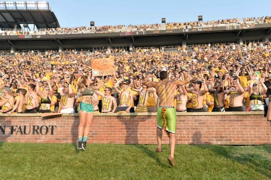 Sep 9, 2017; Columbia, MO, USA; Missouri Tigers students and fans show their support during the game against the South Carolina Gamecocks at Faurot Field. Mandatory Credit: Denny Medley-USA TODAY Sports