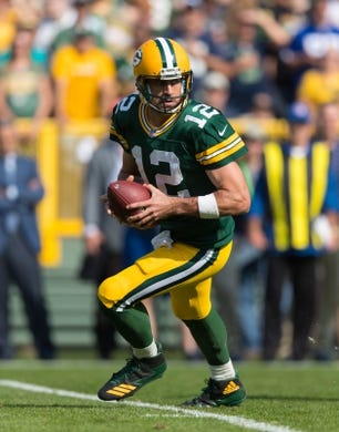 Sep 10, 2017; Green Bay, WI, USA; Green Bay Packers quarterback Aaron Rodgers (12) during the game against the Seattle Seahawks at Lambeau Field. Mandatory Credit: Jeff Hanisch-USA TODAY Sports