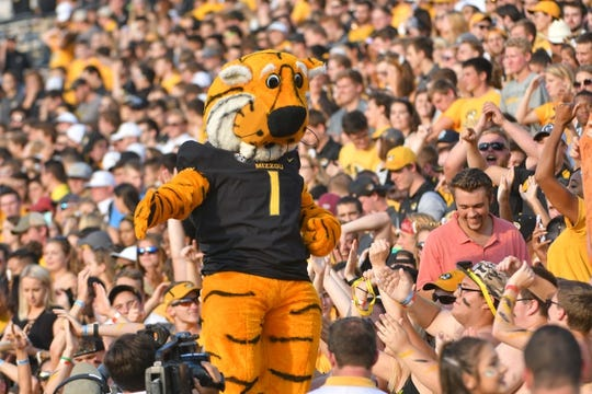 Sep 9, 2017; Columbia, MO, USA; The Missouri Tigers mascot Truman entertains fans during the game against the South Carolina Gamecocks at Faurot Field. Mandatory Credit: Denny Medley-USA TODAY Sports