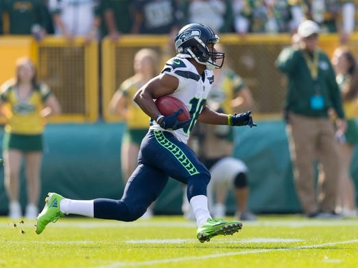 Sep 10, 2017; Green Bay, WI, USA; Seattle Seahawks wide receiver Tyler Lockett (16) during the game against the Green Bay Packers at Lambeau Field. Mandatory Credit: Jeff Hanisch-USA TODAY Sports