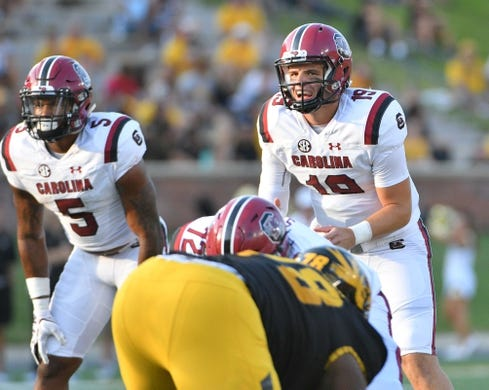 Sep 9, 2017; Columbia, MO, USA; South Carolina Gamecocks quarterback Jake Bentley (19) goes under center during the game against the Missouri Tigers at Faurot Field. Mandatory Credit: Denny Medley-USA TODAY Sports
