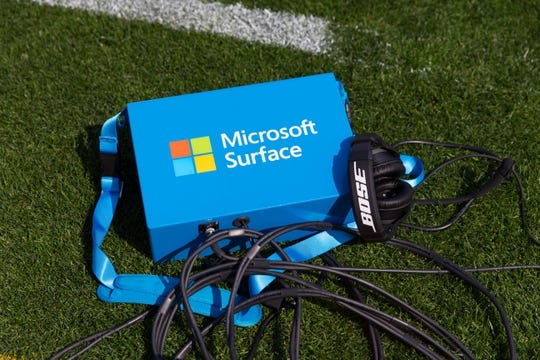 Sep 10, 2017; Green Bay, WI, USA; A Microsoft Surface Replay tablet sits on the sidelines during warmups prior to the game between the Seattle Seahawks and Green Bay Packers at Lambeau Field. Mandatory Credit: Jeff Hanisch-USA TODAY Sports