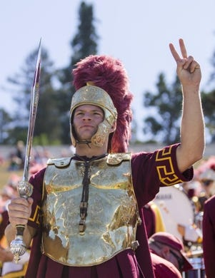 Sep 23, 2017; Berkeley, CA, USA; A member of the USC Trojans band performs before the game against the California Golden Bears at at Memorial Stadium. Mandatory Credit: John Hefti-USA TODAY Sports