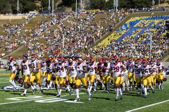 Sep 23, 2017; Berkeley, CA, USA;  The USC Trojans leave the field shortly before the game against the California Golden Bears at Memorial Stadium. Mandatory Credit: John Hefti-USA TODAY Sports