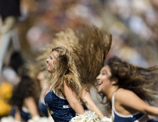Sep 23, 2017; Berkeley, CA, USA; The California Golden Bears cheer squad performs before the game against the USC Trojans at Memorial Stadium. Mandatory Credit: John Hefti-USA TODAY Sports