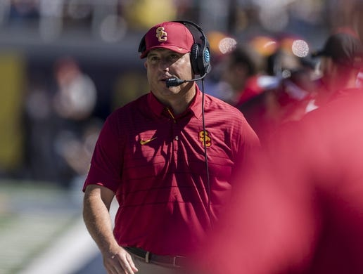 Sep 23, 2017; Berkeley, CA, USA;  USC Trojans head coach  Clay Helton watches the game against the California Golden Bears in the third quarter at Memorial Stadium. Mandatory Credit: John Hefti-USA TODAY Sports