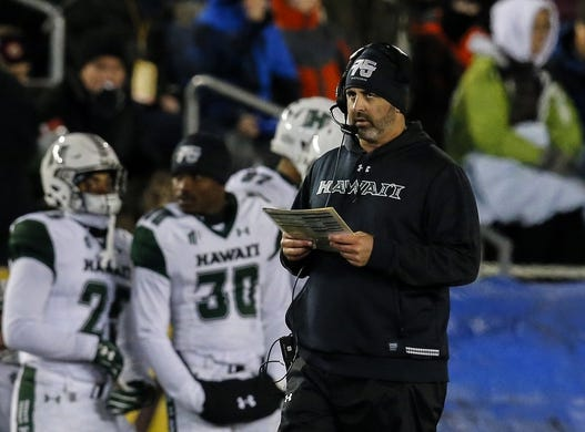 Sep 23, 2017; Laramie, WY, USA; Hawaii Warriors head coach Nick Rolovich reacts against the Wyoming Cowboys during the second quarter at War Memorial Stadium. Mandatory Credit: Troy Babbitt-USA TODAY Sports