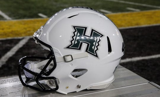 Sep 23, 2017; Laramie, WY, USA; A general view of the Hawaii Warriors helmet before game against the Wyoming Cowboys at War Memorial Stadium. Mandatory Credit: Troy Babbitt-USA TODAY Sports