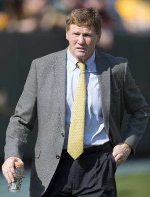Sep 24, 2017; Green Bay, WI, USA; Green Bay Packers president Mark Murphy walks the sidelines during warmups prior to the game against the Cincinnati Bengals at Lambeau Field. Mandatory Credit: Jeff Hanisch-USA TODAY Sports