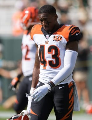 Sep 24, 2017; Green Bay, WI, USA; Cincinnati Bengals safety George Iloka (43) prior to the game against the Green Bay Packers at Lambeau Field. Mandatory Credit: Jeff Hanisch-USA TODAY Sports
