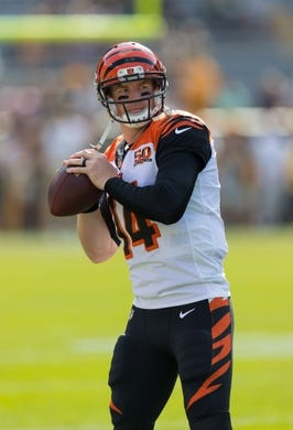 Sep 24, 2017; Green Bay, WI, USA; Cincinnati Bengals quarterback Andy Dalton (14) prior to the game against the Green Bay Packers at Lambeau Field. Mandatory Credit: Jeff Hanisch-USA TODAY Sports