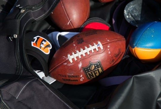 Sep 24, 2017; Green Bay, WI, USA; An NFL football sits in a Cincinnati Bengals bag prior to the game against the Green Bay Packers at Lambeau Field. Mandatory Credit: Jeff Hanisch-USA TODAY Sports