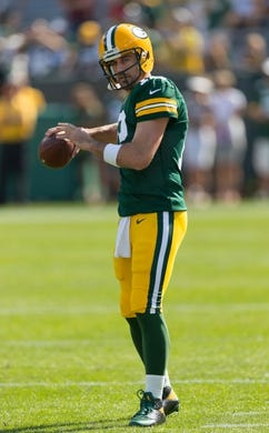 Sep 24, 2017; Green Bay, WI, USA; Green Bay Packers quarterback Aaron Rodgers (12) prior to the game against the Cincinnati Bengals at Lambeau Field. Mandatory Credit: Jeff Hanisch-USA TODAY Sports