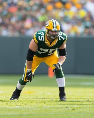 Sep 24, 2017; Green Bay, WI, USA; Green Bay Packers offensive tackle Bryan Bulaga (75) during the game against the Cincinnati Bengals at Lambeau Field. Mandatory Credit: Jeff Hanisch-USA TODAY Sports