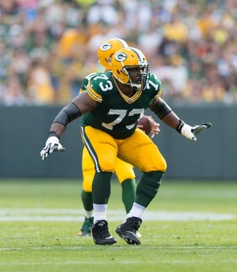 Sep 24, 2017; Green Bay, WI, USA; Green Bay Packers guard Jahri Evans (73) during the game against the Cincinnati Bengals at Lambeau Field. Mandatory Credit: Jeff Hanisch-USA TODAY Sports