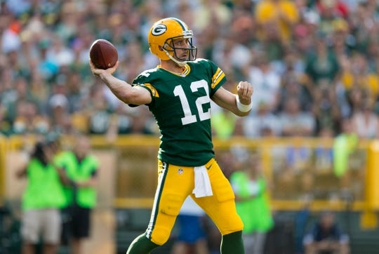 Sep 24, 2017; Green Bay, WI, USA; Green Bay Packers quarterback Aaron Rodgers (12) during the game against the Cincinnati Bengals at Lambeau Field. Mandatory Credit: Jeff Hanisch-USA TODAY Sports