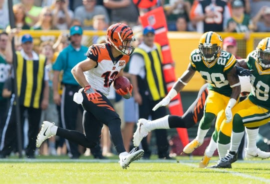 Sep 24, 2017; Green Bay, WI, USA; Cincinnati Bengals wide receiver Alex Erickson (12) during the game against the Green Bay Packers at Lambeau Field. Mandatory Credit: Jeff Hanisch-USA TODAY Sports