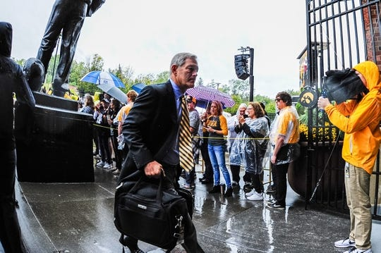 Oct 7, 2017; Iowa City, IA, USA; Iowa Hawkeyes head coach Kirk Ferentz walks into Kinnick Stadium before the game between the Iowa Hawkeyes and the Illinois Fighting Illini. Mandatory Credit: Jeffrey Becker-USA TODAY Sports