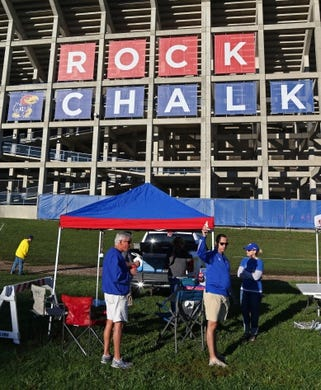 Oct 7, 2017; Lawrence, KS, USA; Kansas Jayhawks fans tailgate before the game against the Texas Tech Red Raiders at Memorial Stadium. Mandatory Credit: Jay Biggerstaff-USA TODAY Sports