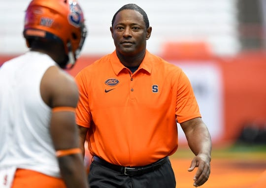 Oct 7, 2017; Syracuse, NY, USA; Syracuse Orange head coach Dino Babers walks on the field prior to the game against the Pittsburgh Panthers at the Carrier Dome. Mandatory Credit: Rich Barnes-USA TODAY Sports