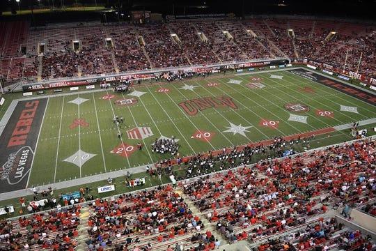 Oct 7, 2017; Las Vegas, NV, USA; The UNLV Rebels host the San Diego Aztecs at Sam Boyd Stadium. Mandatory Credit: Stephen R. Sylvanie-USA TODAY Sports