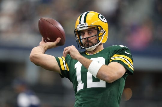 Oct 8, 2017; Arlington, TX, USA; Green Bay Packers quarterback Aaron Rodgers (12) throws prior to the game against the Dallas Cowboys at AT&T Stadium. Mandatory Credit: Matthew Emmons-USA TODAY Sports