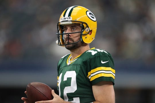 Oct 8, 2017; Arlington, TX, USA; Green Bay Packers quarterback Aaron Rodgers (12) prior to the game against the Dallas Cowboys at AT&T Stadium. Mandatory Credit: Matthew Emmons-USA TODAY Sports